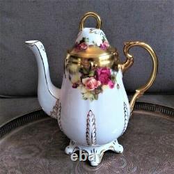 RARE Royal Chelsea Golden Rose Teapot & Coffee pot Heavy Gold