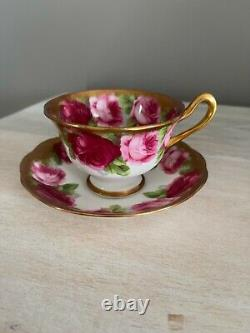 ROYAL ALBERT OLD ENGLISH ROSE HEAVY GOLD Tea Cup & Saucer