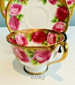ROYAL ALBERT Trio TEA CUP SAUCER SALAD PLATE Heavy Gold OLD ENGLISH ROSE