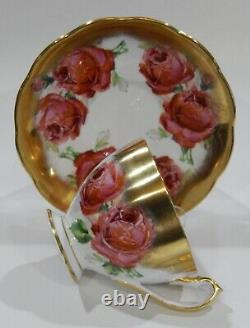 Rare Queen Anne PINK CABBAGE ROSE FLORAL BOUQUET CUP & SAUCER Heavy Gold Gilding
