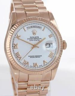 Rolex President Day Date Rose Gold 36mm 118235 White Roman Heavy Band Watch