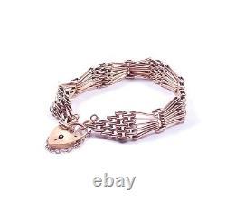 Rose Gold Gate Bracelet Heavy 9 Carat London 1997 HM 24.9g 7 inches
