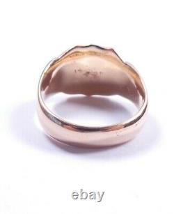 Rose gold Signet ring 9 carat Size S Heavy Birmingham 1914