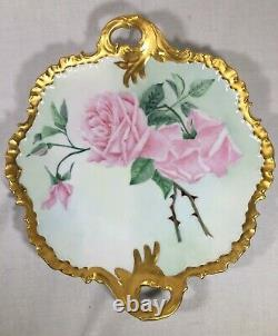 Rosenthal Bavaria 12 Inch Signed CAKE PLATE with Pink Roses and Heavy Gold Trim