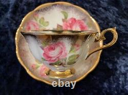 Royal Albert PINK CABBAGE ROSE Cabinet Tea Cup & Saucer Heavy Gold