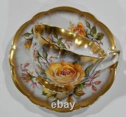 Royal Albert YELLOW ROSES Floral Cup & Saucer GOLD CREST Series Heavy Gold