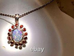 Ruby Flower Natural Australian Black Opal heavy doublet Ladies Pendant Rose Gold