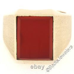 Russian Vintage Mens 14K Rose Gold Heavy Rectangular Carnelian Stone Finish Ring