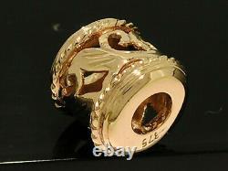 S BD044 GENUINE Heavy 9ct Solid ROSE Gold Baroque style Filigree Bead Achantus