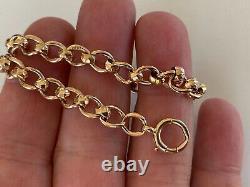 SUPERB GENTS OLD VINTAGE HEAVY LINK SOLID 9ct ROSE GOLD BRACELET 13.5 GRAMS