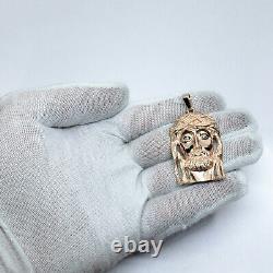 Solid 10K Rose Gold Jesus Piece Gold Jesus Pendant Heavy Large Diamond 12.4g 2