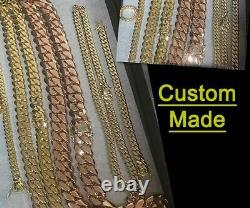 Solid 14K Rose Gold Men's Cuban Curb Link Chain Necklace 24 Heavy 221.7gr 11mm