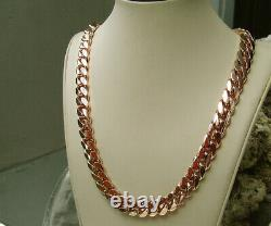 Solid 14K Rose Gold Men's Cuban Curb Link Chain Necklace 24 Heavy 267.2gr 12mm
