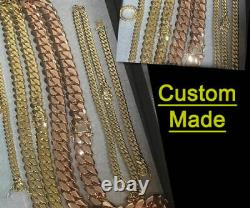 Solid 14K Rose Gold Men's Cuban Curb Link Chain Necklace 24 Heavy 311.6gr 13mm