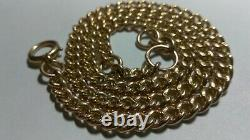 Solid 9k rose gold heavy 4.7mm curb necklace chain 25.33 grams 16 adjustable