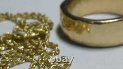 Solid heavy 18k rose gold hammered 7.75mm wedding band ring 17.02 grams sz 8.75
