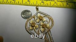 Solid heavy 21.4k gold beautiful unique flower rose pendant 15.27 gr 22k