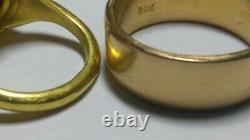 Solid heavy 22k 23k rose gold 8.5mm wide wedding band ring 16.31 grams sz 9.75