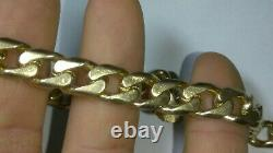 Solid heavy awesome 14k rose gold 9.2mm mens curb bracelet 47.23 grams 8.5 long