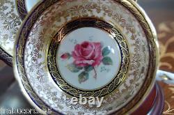 Stunning PARAGON Pink Rose/Cobalt Blue/Heavy Gold/Lace Tea Cup & Saucer #A866