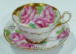 Stunning TUSCAN Bone China Handpainted PINK CABBAGE ROSE CUP & SAUCER Heavy Gold
