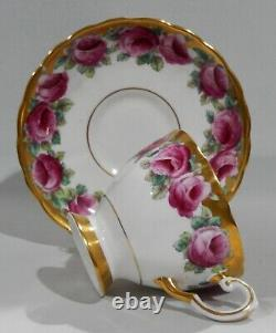 Stunning TUSCAN Bone China PINK ROSE Handpainted CUP & SAUCER Heavy Gold MINT