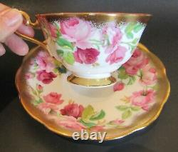 Stunning Vintage Royal Albert with Pink Roses and Heavy Gold Trim Cup and Saucer
