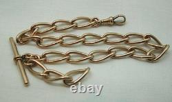 Super Quality Antique Heavy 9ct Rose Gold Large Link Albert Watch Chain