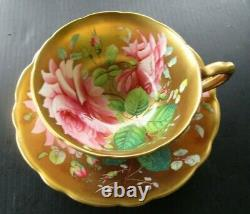 Super Rare Hammersley Hand Painted Severn Rose Heavy Gold Teacup and Saucer Set