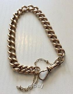 Superb Solid Very Heavy Antique 9 Carat Rose Gold Albert Bracelet Lovely