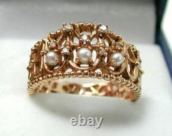Unusual Beautiful Heavy 14 carat Rose Gold Pearl And Diamond Ring Size S. 1/2