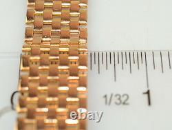 Vintage 18k Rose Gold Heavy 1/2 Wide Basket Weave Mesh Bracelet 29 Grams 7.5 In