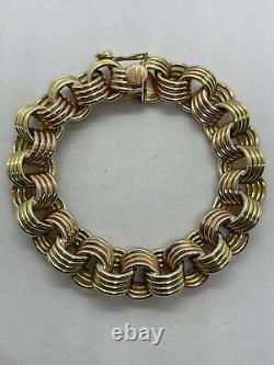 Vintage 18k yellow rose gold chunky heavy 119.6g multi circle link bracelet pink