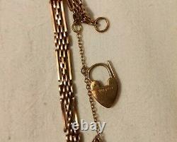 Vintage 9ct Heavy Rose Gold Gate Bracelet with Safety Chain Padlock Hallmarked