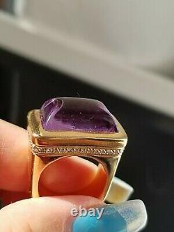 Vintage Amethyst Cabochon VS Diamond Heavy 26 grams 18k Rose Gold ring
