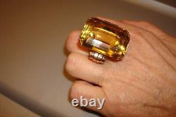 Vintage Beautiful Heavy Huge 14k Yellow Rose Gold Emerald Cut Citrine Ring 10