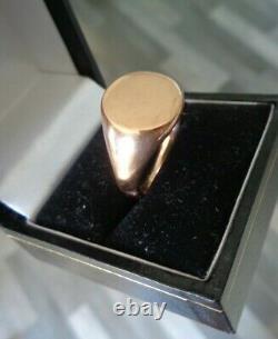 Vintage HEAVY 9ct Rose Gold Signet Ring h/m 1924 Birmingham size U