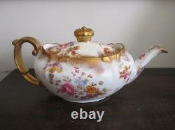 Vintage Hammersley England Porcelain Teapot Heavy Gold Flowers Rose