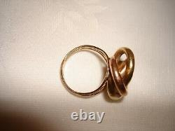 Vintage Handmade 14k Rose Yellow Gold Love Knotted Ring Size 9 Heavy 6 grams