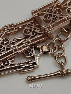 Vintage Heavy 9ct Rose Gold Fancy Link Gate Watch Chain Bracelet