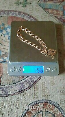 Vintage Heavy 9ct Rose & Yellow Gold Heart Padlock Bracelet / Charm Bracelet