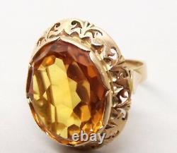 Vtg 14K Rose Gold Citrine Ring Sz 8 Ornate 10.37 Carat Stone Cocktail Heavy
