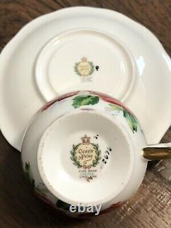 Vtg HTF Rare Queen Anne PINK CABBAGE ROSE FLORAL CUP & SAUCER Heavy Gold Gilding