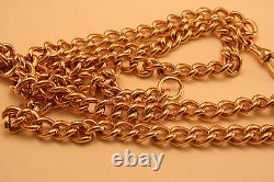 100% Authentique 9k Rose Gold Curbed Link Watch Chain 67cm Fort Et Lourd