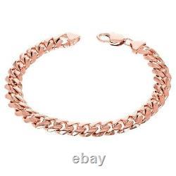 10k Rose Or Massif Lourd Miami Cuban Chaîne Bracelet 7 10mm 41,5 Grammes