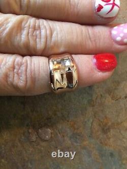 14 Kt Rose Gold Poli Heavy Concave Design Large Cigar Band Ring Nouveau