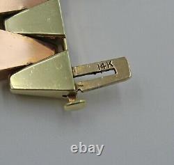 14k Heavy Yellow & Rose Gold Retro Large Lozenge Kite Link Statement Bracelet 7