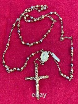 14k Jaune Blanc & Or Rose Jérusalem Terre Sainte Rosaire Lourd 16,2 Gr