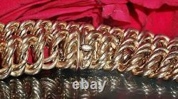 14k Or Rose Lourd Fantaisie Double Chaîne De Maillons Freiné Bracelet 8,75 Fait Main 23,9g