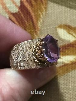 14k Rose Gold Amethyst Wide Band Ring 6.6 Grams Heavy Textured Wide Band